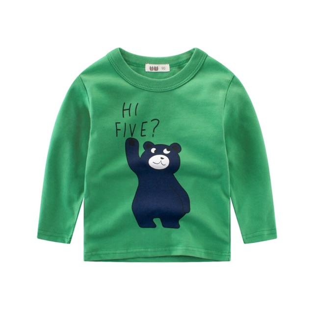 [Mã FSS09JAN hoàn 20% XU đơn từ 0đ]Áo thun tay dài in hình gấu dễ thương cho bé