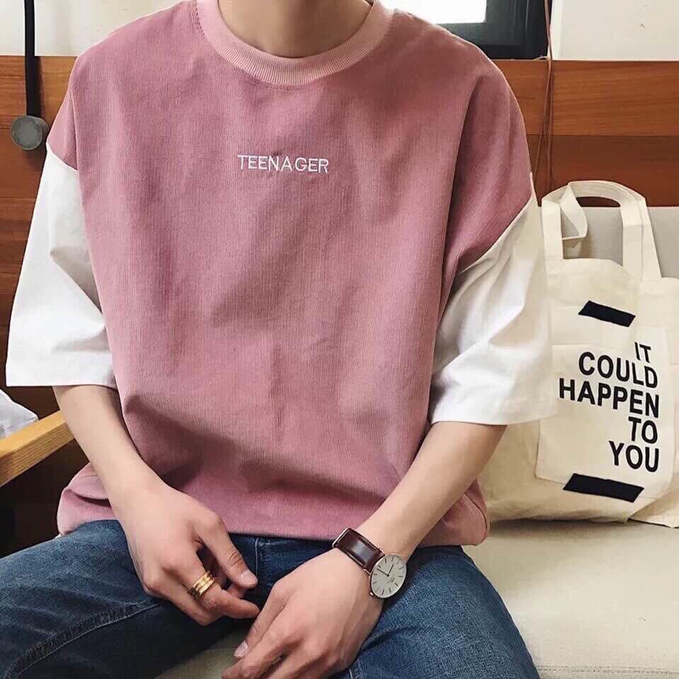 Áo thun cotton tay lở form rộng nam nữ ulzzang Hàn Quốc Nhật Bản- Teenager (có sẵn)