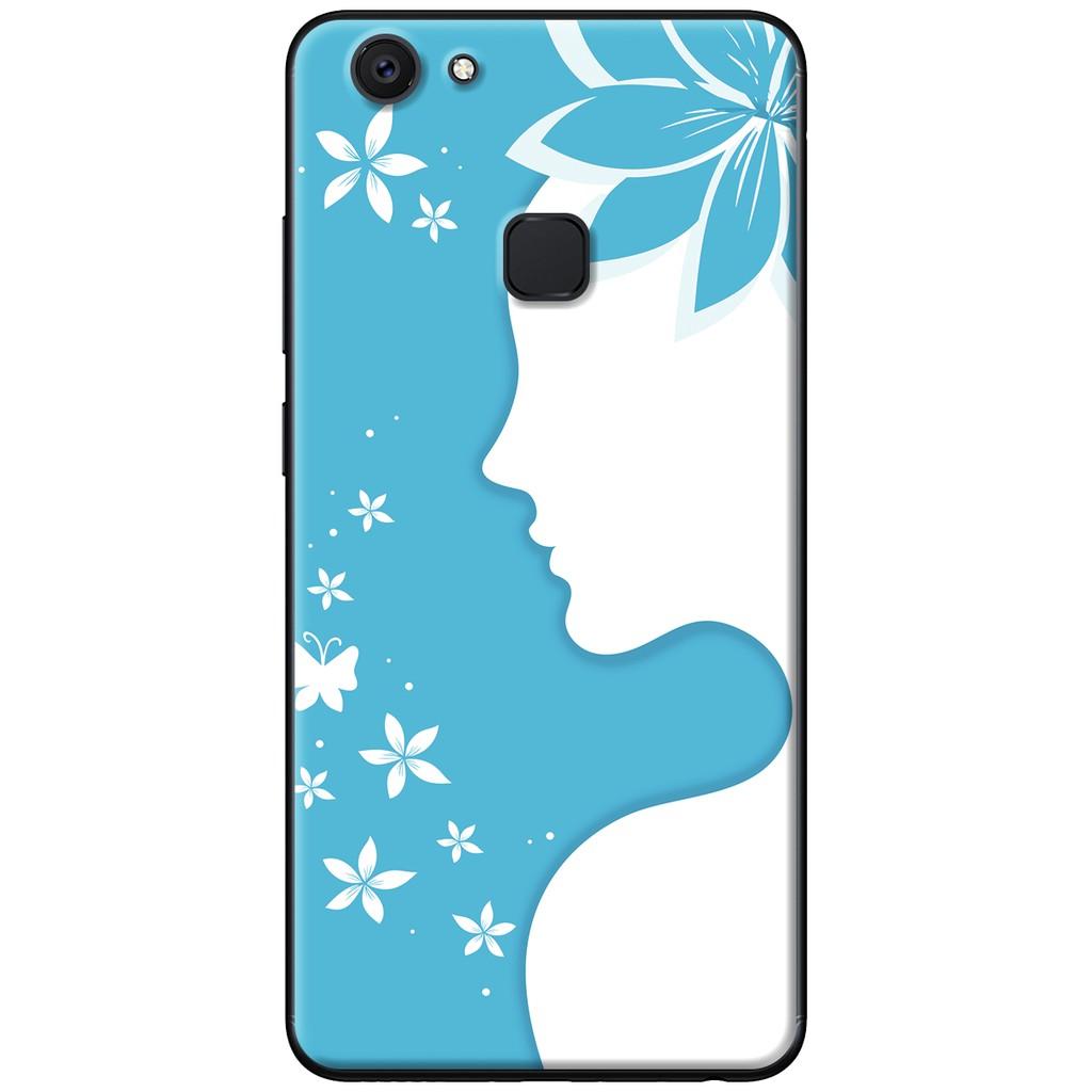 Ốp lưng Vivo V7, V7 Plus - nhựa dẻo Cài hoa nét vẽ xanh dương
