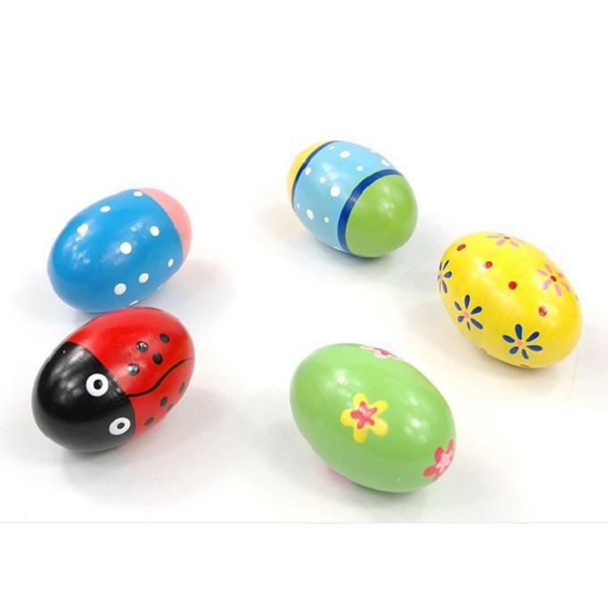 Quả trứng gỗ màu sắc ngộ nghĩnh,an toàn cho bé-màu ngẫu nhiên