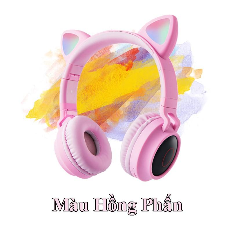 Tai nghe bluetooth BT-028C dễ thương có mic đàm thoại, tai nghe không dây headphone bluetooth chụp tai cao cấp