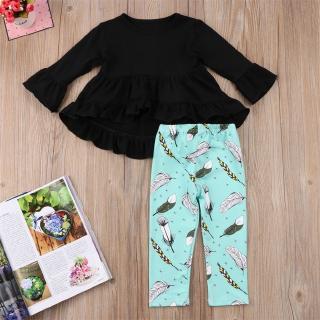 ♕-Baby Girls Long Sleeve Shirt Outfit Tops Long Pants Leggings Set