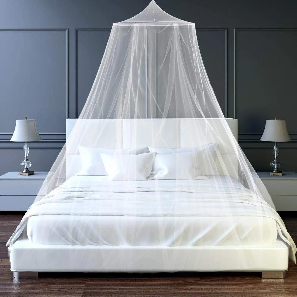 Mùng 3 Màu Màn khung tròn chống muỗi màu trơn trang nhã cho phòng ngủ của bạn màn công chúa