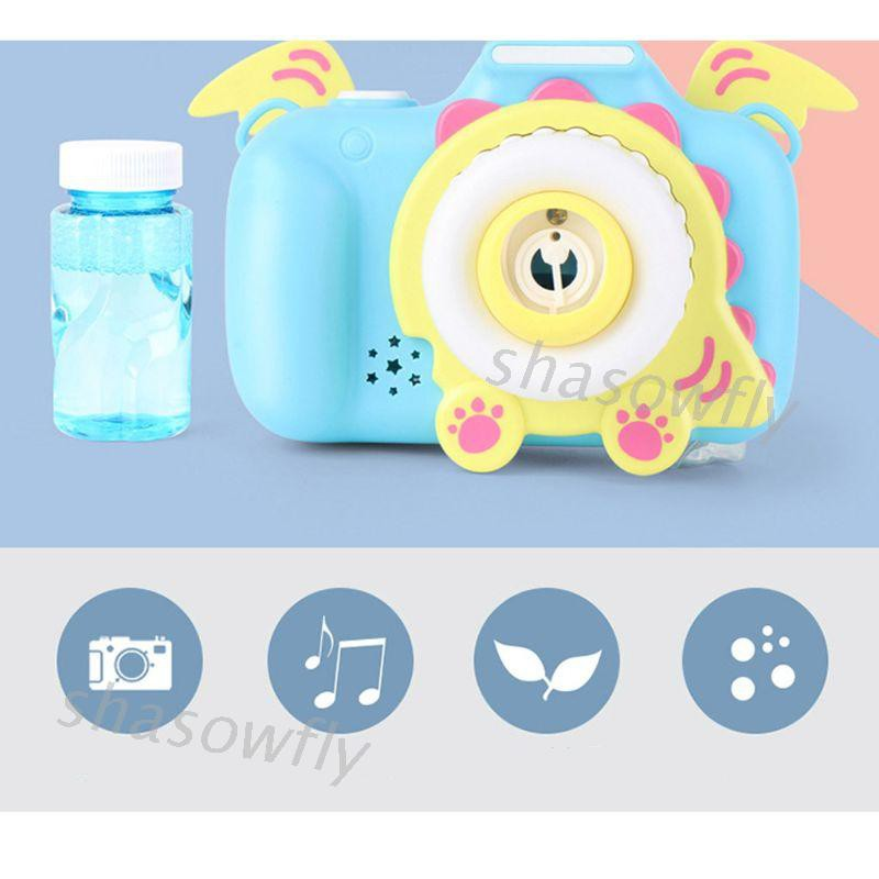 SHAS Automatic Bubble Blower with Light Music Electric Cartoon Maker Camera Toy