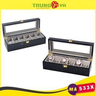 Hộp Đựng Đồng Hồ 6 Ngăn Vỏ Gỗ Sơn Mài Đen - Mã 533X thumbnail