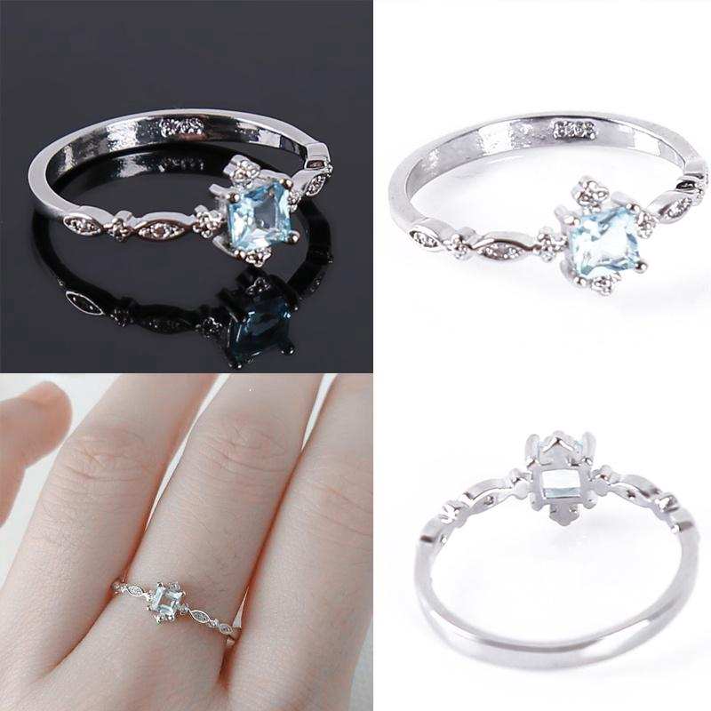 Women Small Elegant Ring with Diamond Topaz Blue Zircon Ring Gift