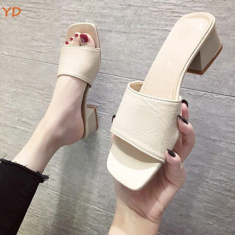 YD half slippers women's shoes high heels 2019 new summer thick with net red Korean shoes wearing fashion black women's