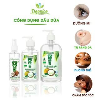Dầu dừa Vietcoco nguyên chất hữu cơ ép lạnh Mỹ phẩm, dưỡng mi, dưỡng tóc, dưỡng môi,dưỡng da chai xịt 130ml DDCN