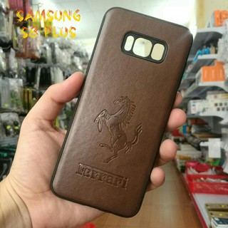 Ốp Lưng Samsung S8 Plus Da Nâu Ferrari