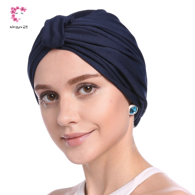 Women Concise Solid Color Muslim Headscarf Inner Hijab