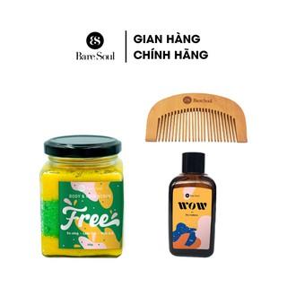 Combo Muối tắm BareSoul Free Body & Hair Scrub 300g + Dầu gội đầu khô BareSoul WOW dry shampoo 50g + Lược gỗ thumbnail