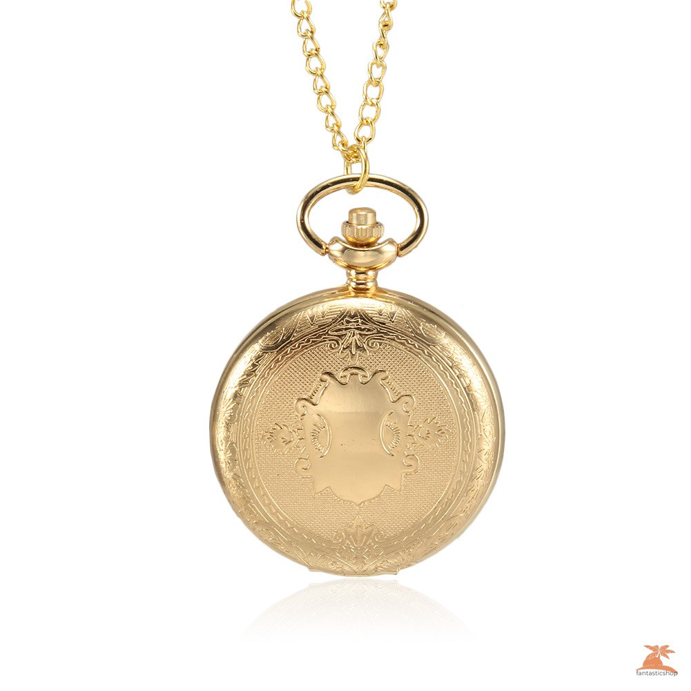 #Đồng hồ bỏ túi# 1pc Men Women Quartz Pocket Watch Golden Shield Pattern Carved Case with Chain