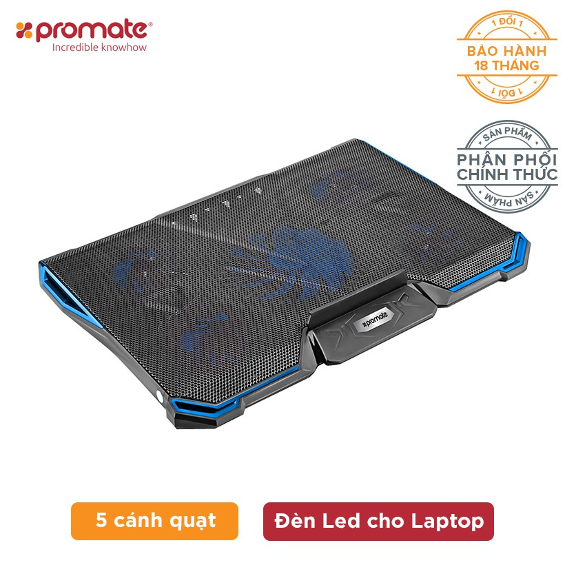 """Đế tản nhiệt Promate AirBase-2 5 cánh quạt & đèn Led cho Laptop 14-17"""" (Đen) - Hàng Chính Hãng - 3573203 , 1304064072 , 322_1304064072 , 690000 , De-tan-nhiet-Promate-AirBase-2-5-canh-quat-den-Led-cho-Laptop-14-17-Den-Hang-Chinh-Hang-322_1304064072 , shopee.vn , Đế tản nhiệt Promate AirBase-2 5 cánh quạt & đèn Led cho Laptop 14-17"""" (Đen) - Hàng"""