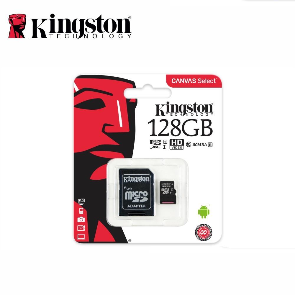 Kingston 16GB/32GB/64GB/128GB MicroSD 80mb/s Class 10 USH-1 with Adapter