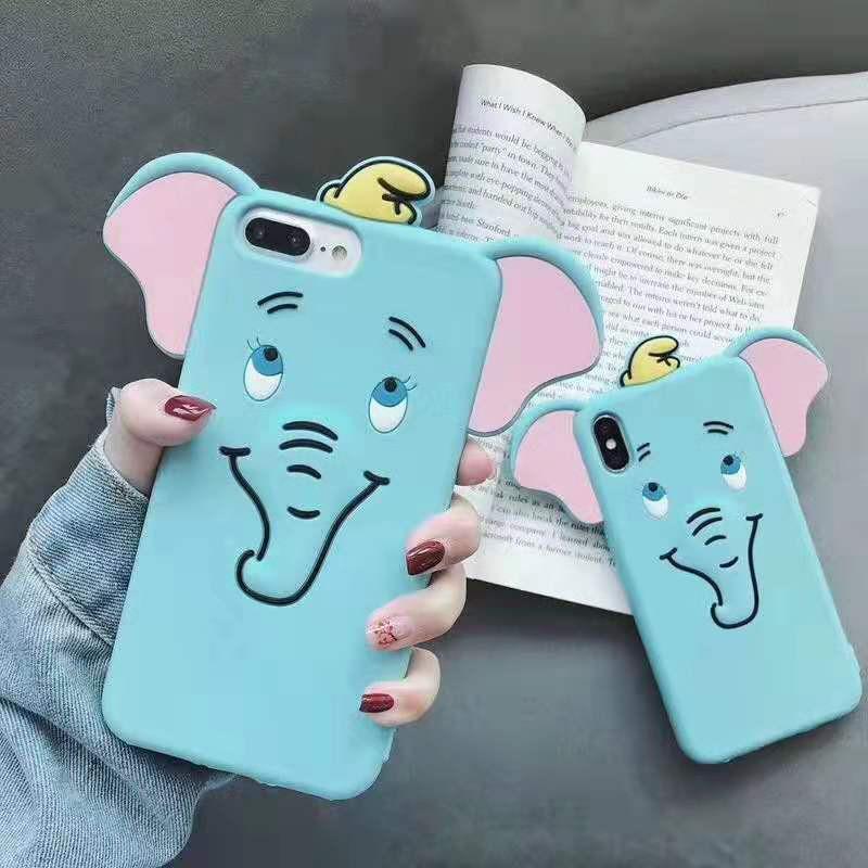 Ốp điện thoại in hình voi hoạt hình xinh xắn cho Iphone 7/8/7 Plus/8 Plus/X/XS/XR/XS Max