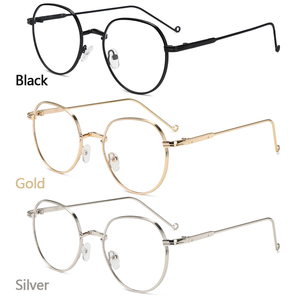 CLEVER Fashion Flat Mirror Eyewear Ultralight Eyeglasses Optical Spectacle Round Frame High-definition Metal Unisex Myopia Glasses/Multicolor