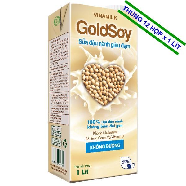 Sữa đậu nành GoldSoy Đạm không đường 1Lit- Thùng 12 Hộp