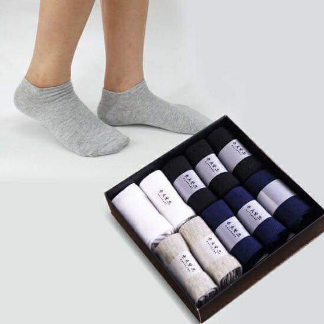 Sét 10 đôi tất nano chống thối chân nam cổ ngắn - cổ cao