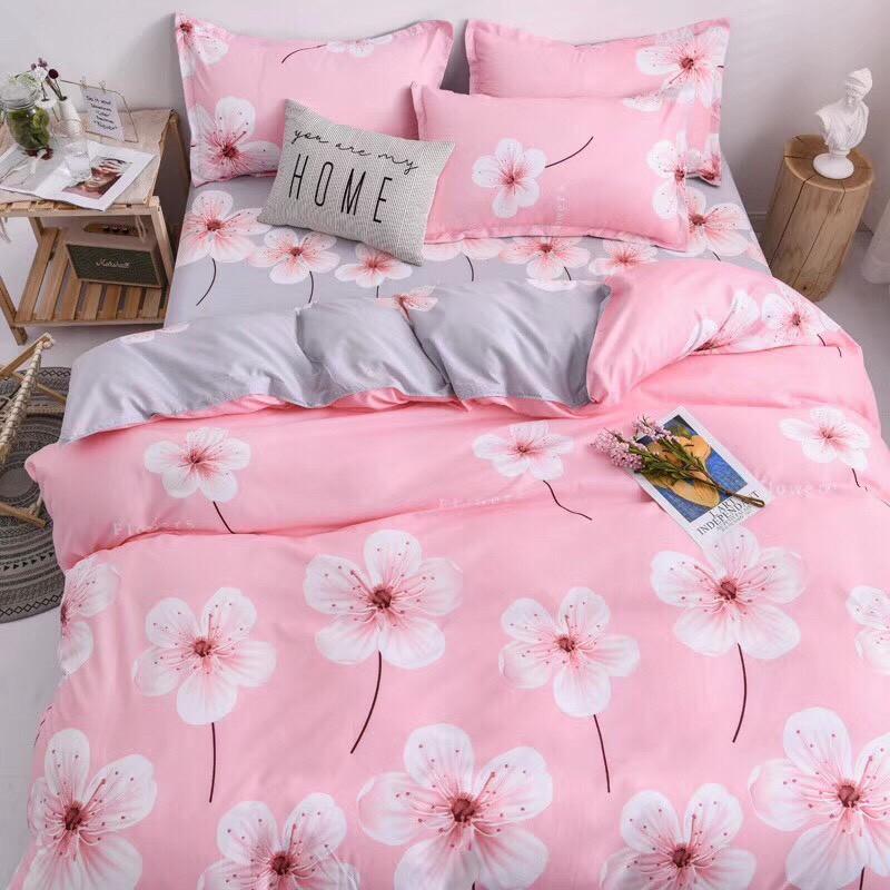 [GIÁ HỦY DIỆT] Set chăn ga gối poly cotton nhập mẫu hoa hồng