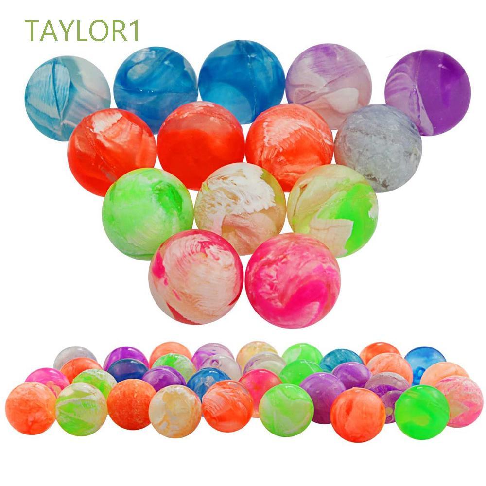 TAYLOR1 Sports Games Bouncing Balls 20Pcs Neon Bouncing Balls Cloud Bouncy Balls Mini Swirl Rubber for Kids Bath Toys 19mm Jumping Balls