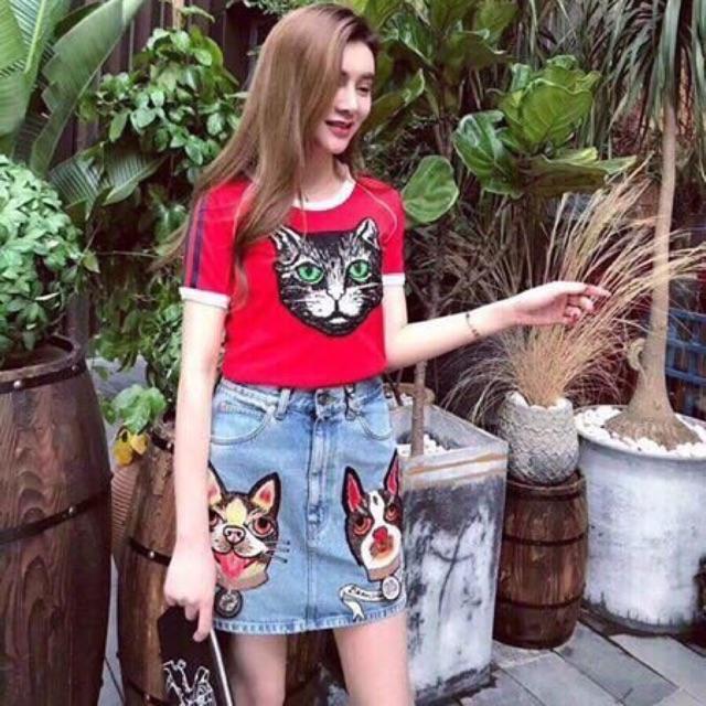Áo phông mèo có viền tay hàng xưởng Hanna đẹp