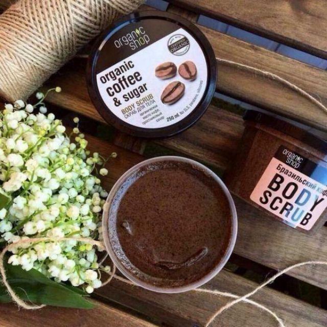 Tẩy Da Chết Body Organic Shop Dưỡng Da Trắng Sáng Của Nga Body Cafe Giúp Mịn Mềm Da  Sáng  Sạch Mụn