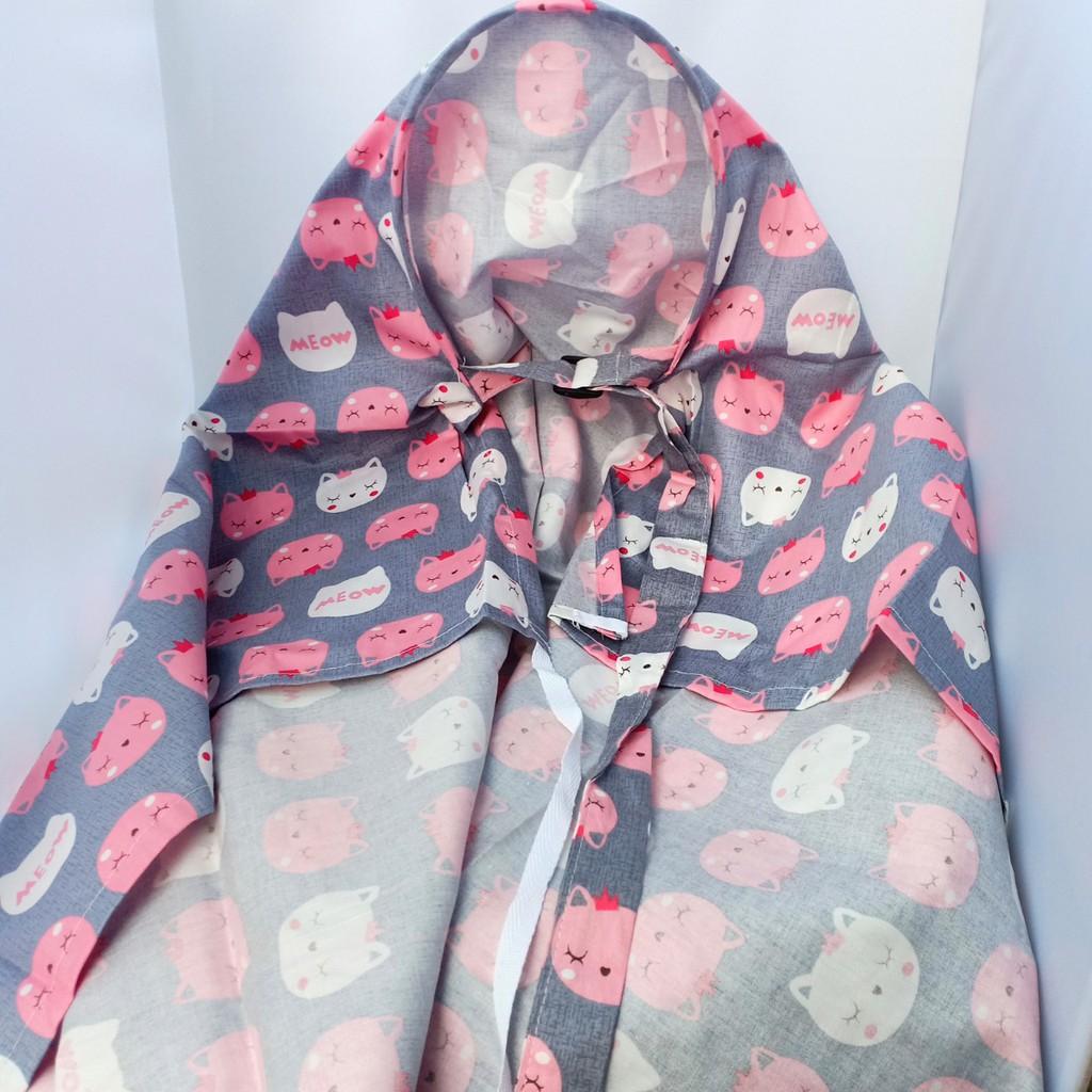 Khăn choàng, áo choàng che cho con bú nơi công cộng loại 2 lớp cotton cao cấp 65x96cm Châu Shop