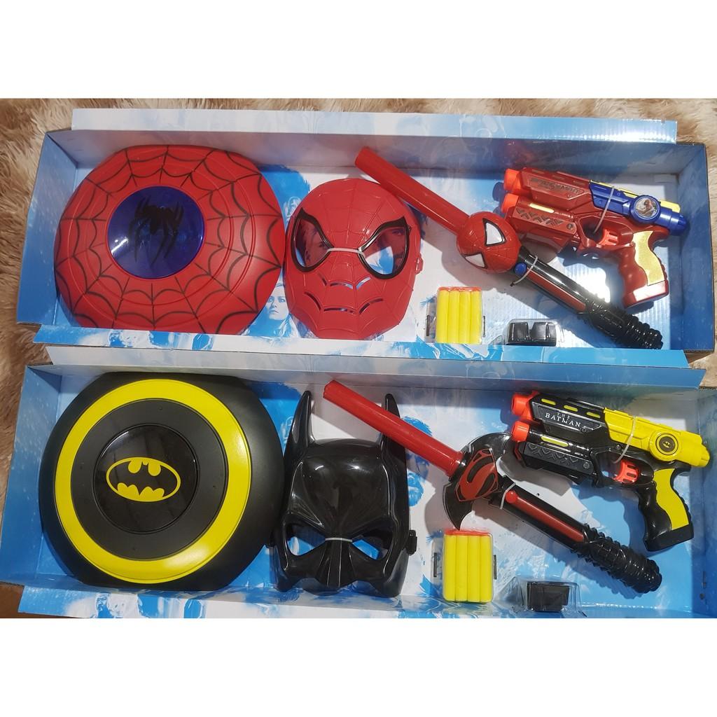 (HÀNG ĐỘC-GIÁ CỰC TỐT) Combo 4 món đồ chơi spiderman sử dụng pin phát đèn gậy kéo dài đến 68cm có độ bền cực cao