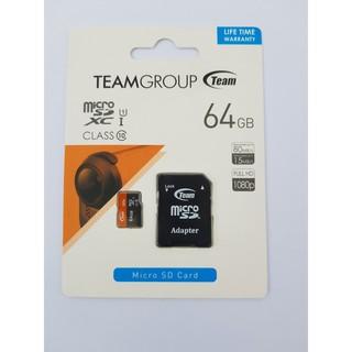[Mã ELFLASH5 giảm 20K đơn 50K] Thẻ nhớ microSDHC Team 64GB upto 80MB/s 500x kèm Adapter