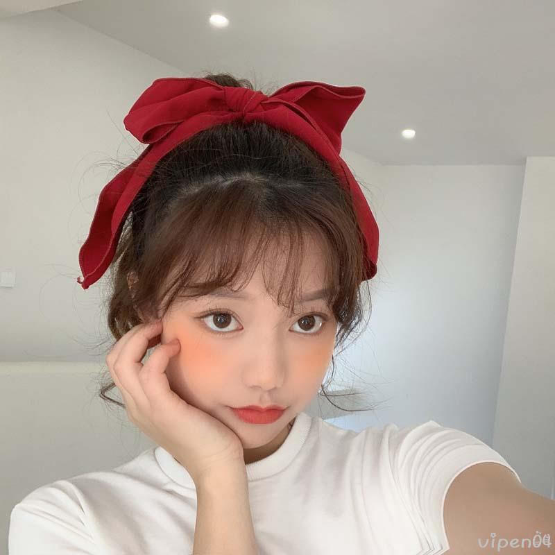 Soft girl bow hair accessories ins trendy human head rope net red with the same sweet and playful girl chiffon headdress