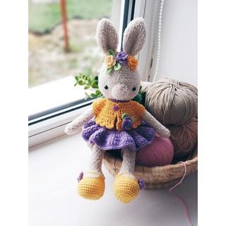 Thỏ váy cam tím PATSKUN – Thú len handmade