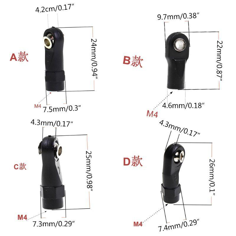 DE❀ 10Pcs Plastic Rod Ends Link Balls for 1/10 TRX-4 TRX4 RC Crawler Car
