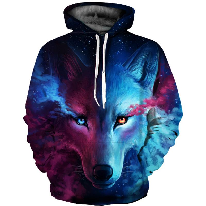 BLM❤Fashion Couple Clothing Wolf Sweater Sweatshirt Jacket Pullover Hoodie Tops