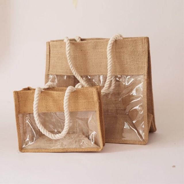Túi vải bố trong suốt - Túi vải vintage