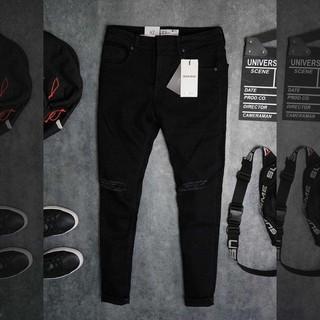 Quần jean nam co giãn rách gối cá tính, 2 màu, quần jean nam cao cấp Linhbig Store