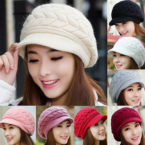 COMI_Women's Winter Solid Color Warm Knitted Baggy Beret Beanie Hat Slouch Ski Cap