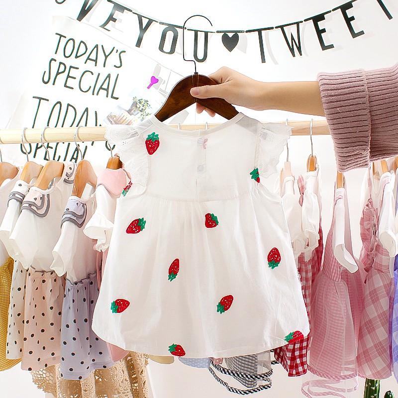 Đầm thời trang công chúa họa tiết dâu tây đáng yêu dành cho trẻ 1-3 tuổi