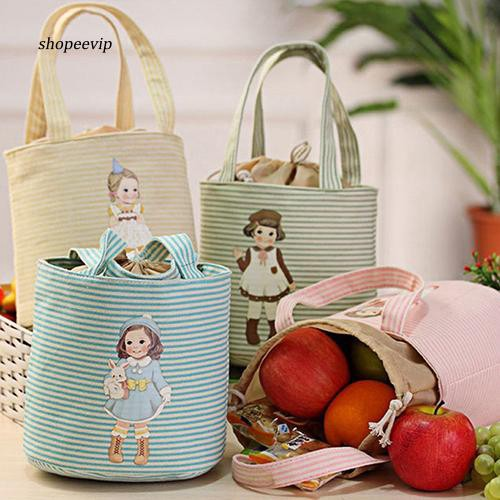 SPVP_Cute Girl Print Thermal Insulated Lunch Storage Cooler Case Pouch Lunch Box