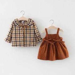 Set Áo Sơ Mi Tay Dài Họa Tiết Sọc Caro Và Chân Váy Nhung Thời Trang Cho Bé Gái