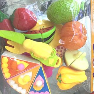 Bộ đồ chơi cắt bánh kem và trái cây rau củ nhựa cứng