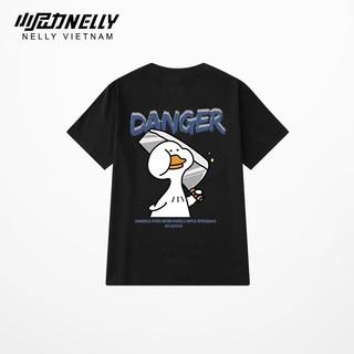 Áo thun tay lỡ NELLY cotton 4 chiều dáng unisex in hình duck danger mã N0141 thumbnail
