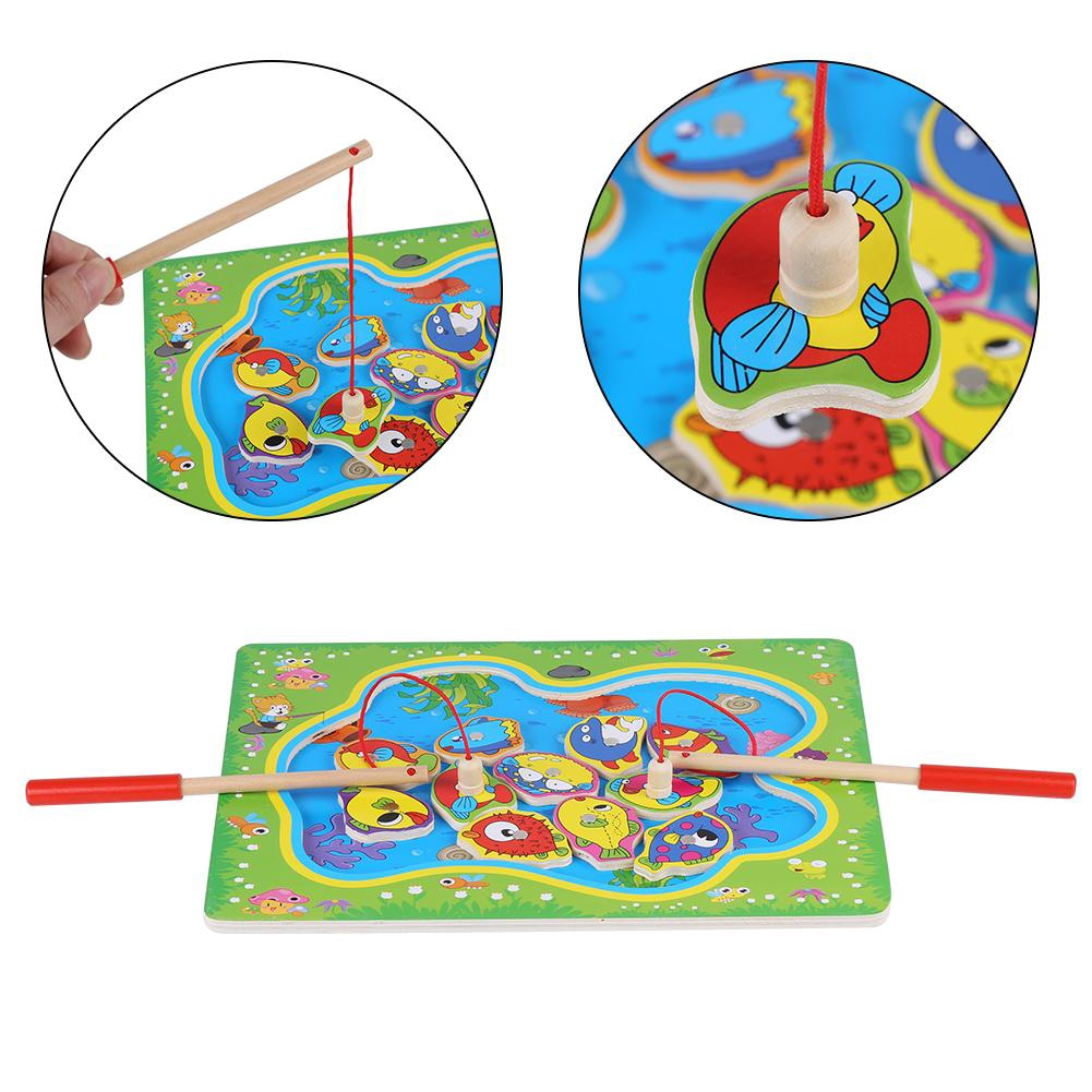 Goonshopping Magnetic Fishing Toy Set Early Educational Wooden Toys Christmas Gifts for Kids Toddles