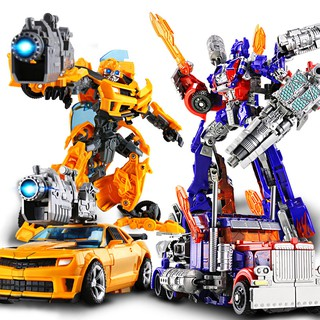 Alloy Transformers 5 Optimus Bumblebee Kids Toys Deformation Car Robot Model Grimlock Slug Children Gift Boy Toy