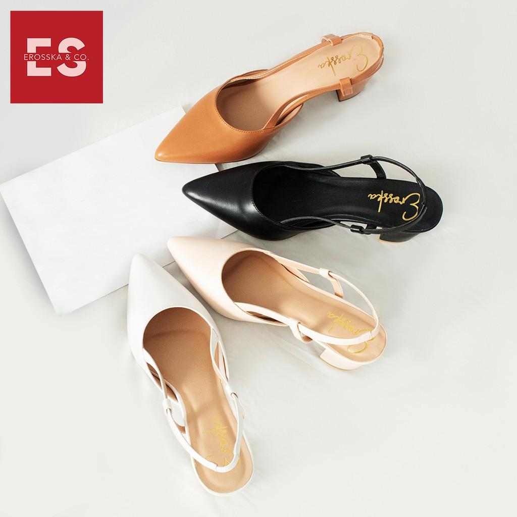 [Mã WSTOPT9 hoàn 30K xu đơn từ 150K] Giày Cao Gót Thời Trang Phối Dây Erosska EH021 (Màu Nude)