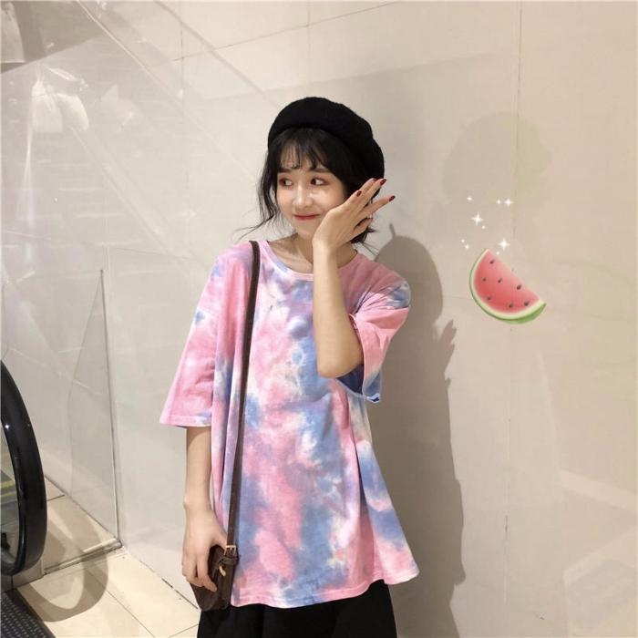 Áo thun phối màu loang ngắn tay phong cách Hàn Quốc cho nữ