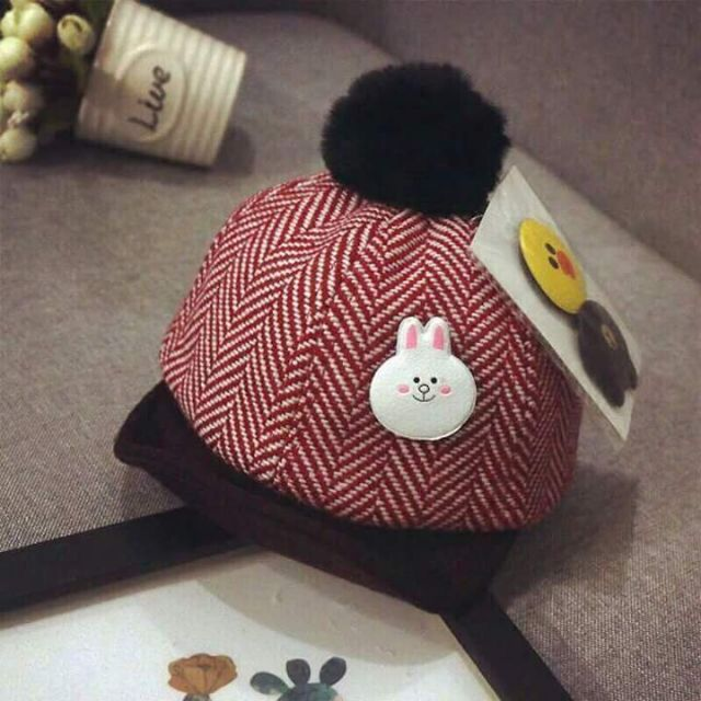 Nón lưỡi trai len dạ cho bé 0 - 2 tuổi kèm sticker cute, mũ len dạ lưỡi trai