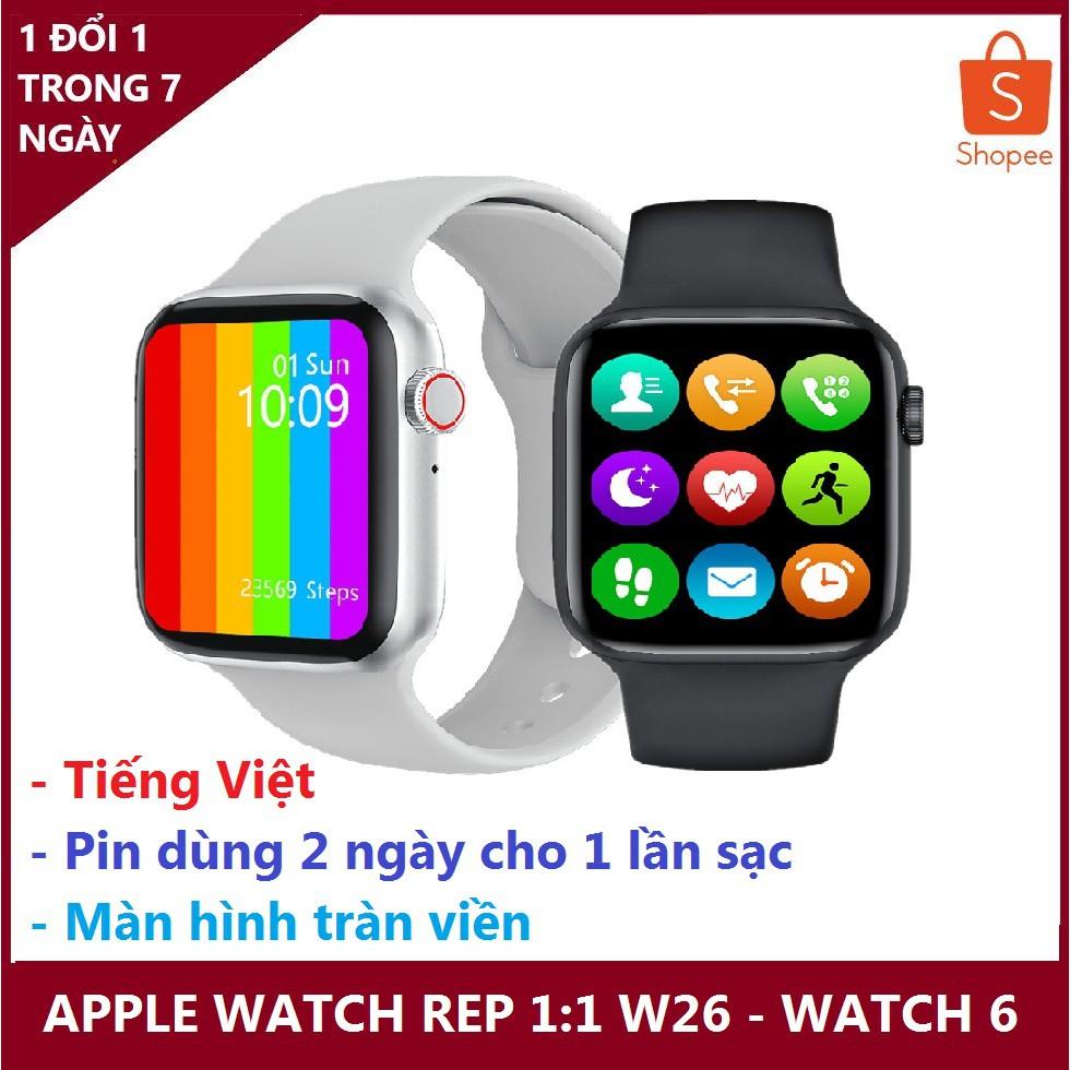 đồng hồ thông minh chống nước apple watch w26 - watch6, màn hình tràn viền - nghe gọi trực tiếp
