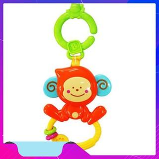 [Hàng Thật] Chú khỉ tinh nghịch xúc xắc, gặm nướu kèm treo nôi cũi, xe đẩy – BPA Free B KIDS 004499