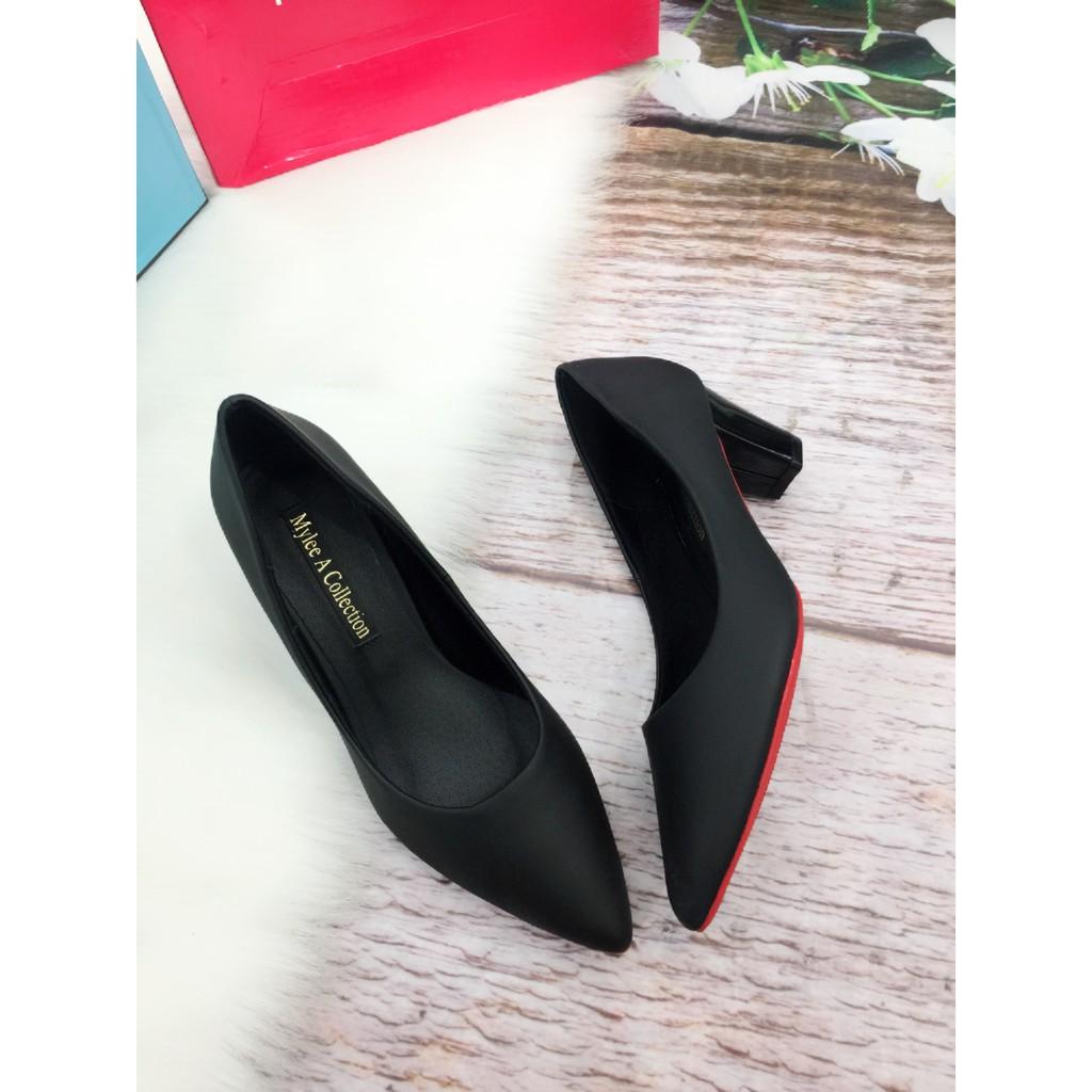 Giày cao gót bít mũi, hàng công sở da mềm cao 5 cm, đế chống trượt