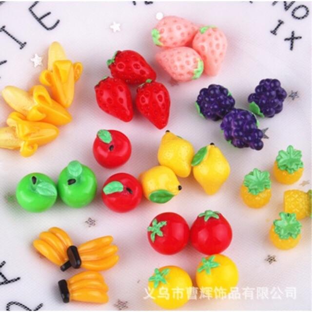 charm slime cà chua dâu tây cam vàng trái cây loại nhỏ phụ kiện trang trí